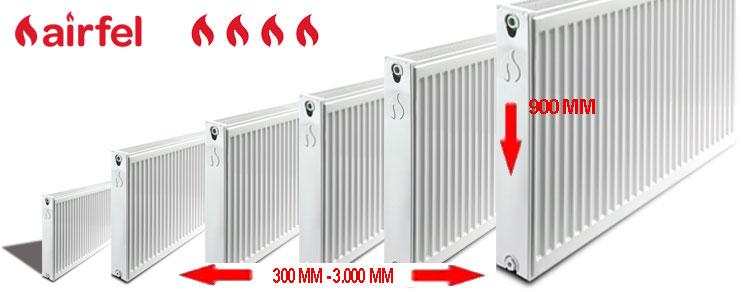 Габариты панельных радиаторов отопления Аирфел